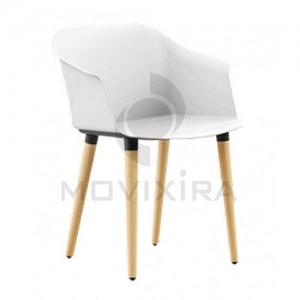 Cadeira em Plástico Pés Madeira Aurora